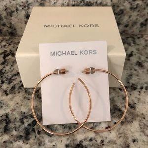 Micheal kors Rose Gold Large Delicate Hoop Earring